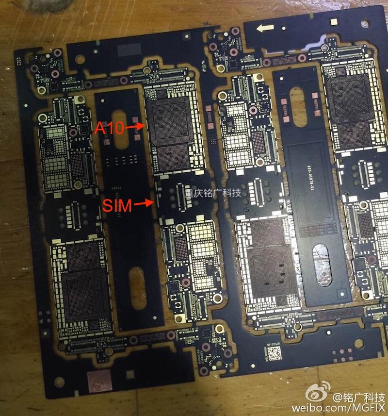 Voorkant van mogelijke moederbord van de iPhone 7.