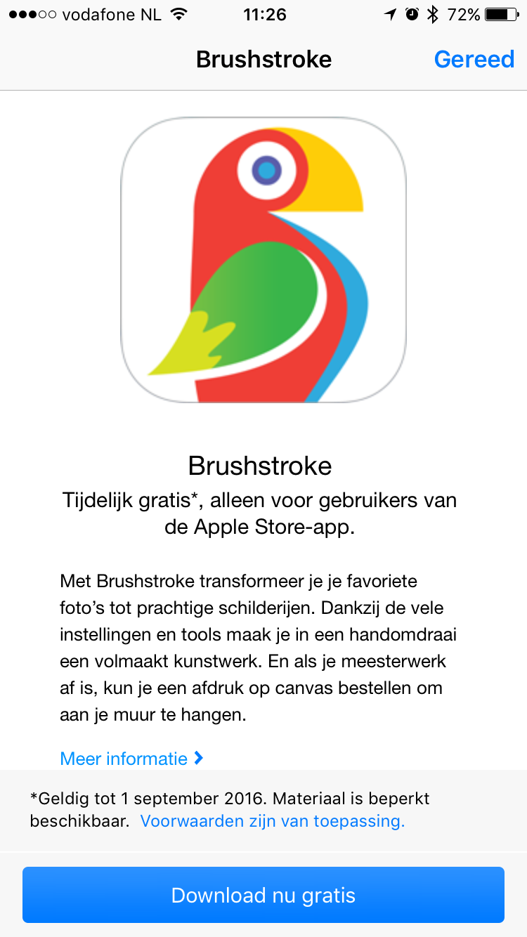 Apple Store app laat je Brushstroke downloaden.
