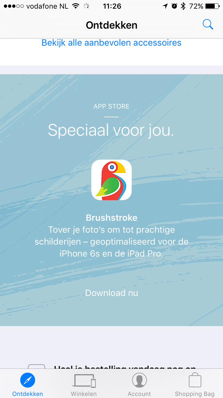 Brushstroke in de Apple Store-app.