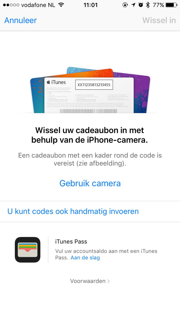 Code inwisselen in App Store.