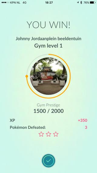 Pokemon Go Gym, gewonnen