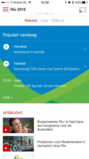 Populair in NOS-app met Olympische Spelen.