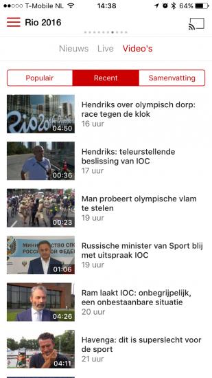 Video overzicht in NOS met Olympische Spelen.