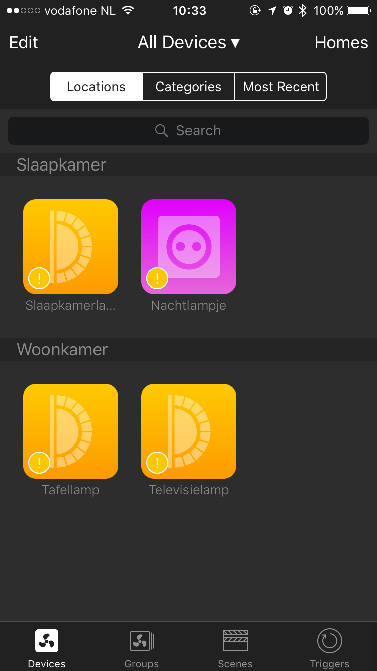 Devices-app voor HomeKit met apparaten.