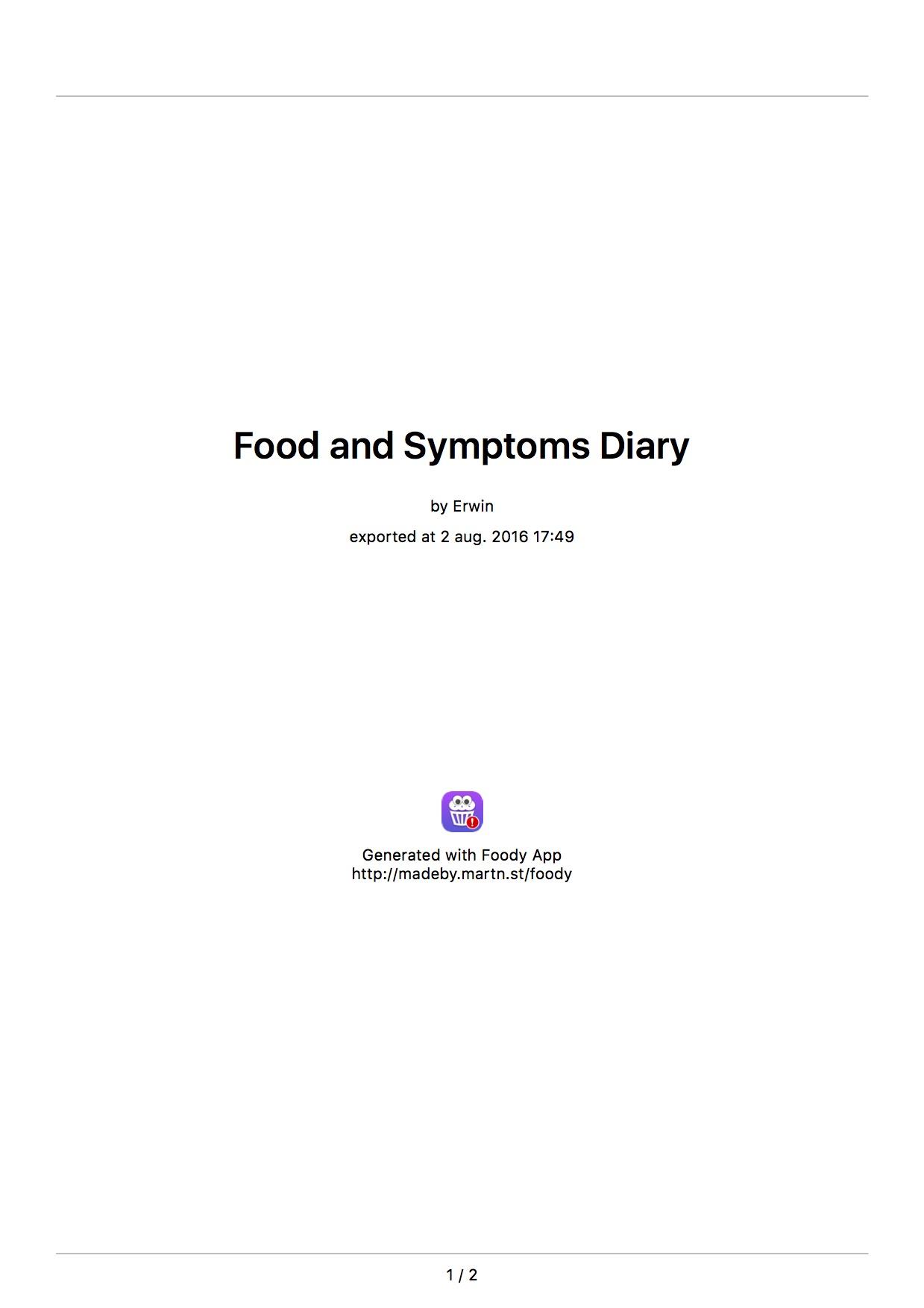 Foody Dagboek van Erwin