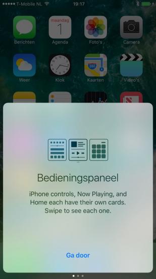 iOS 10 beta 4 met melding voor Bedieningspaneel.