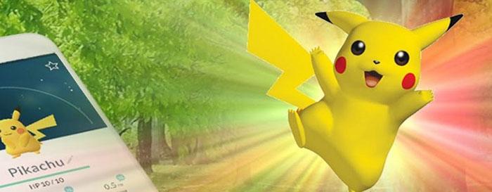 Pikachu vangen in Pokemon Go
