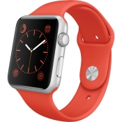 Apple Watch Sport met oranje bandje.