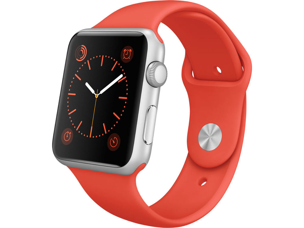 Apple Watch Sport met oranje bandje.