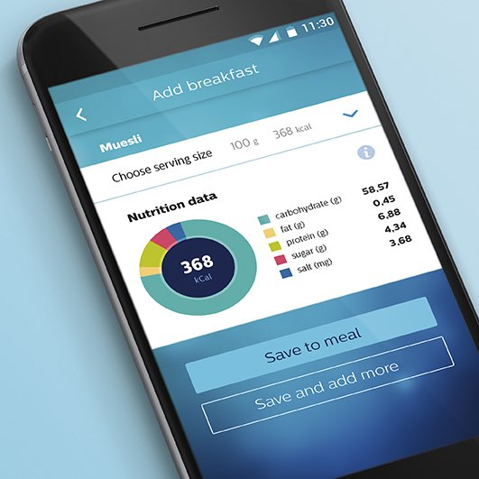 Philips Health App met voedingsanalyse