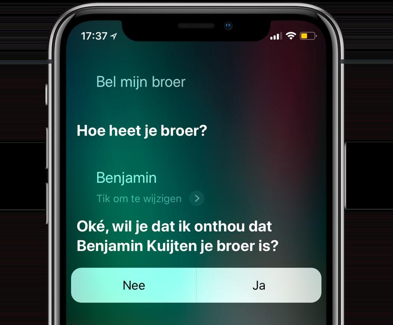 Broer bellen met Siri