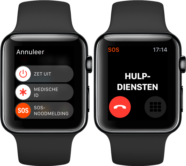 SOS-noodmelding op de Apple Watch.