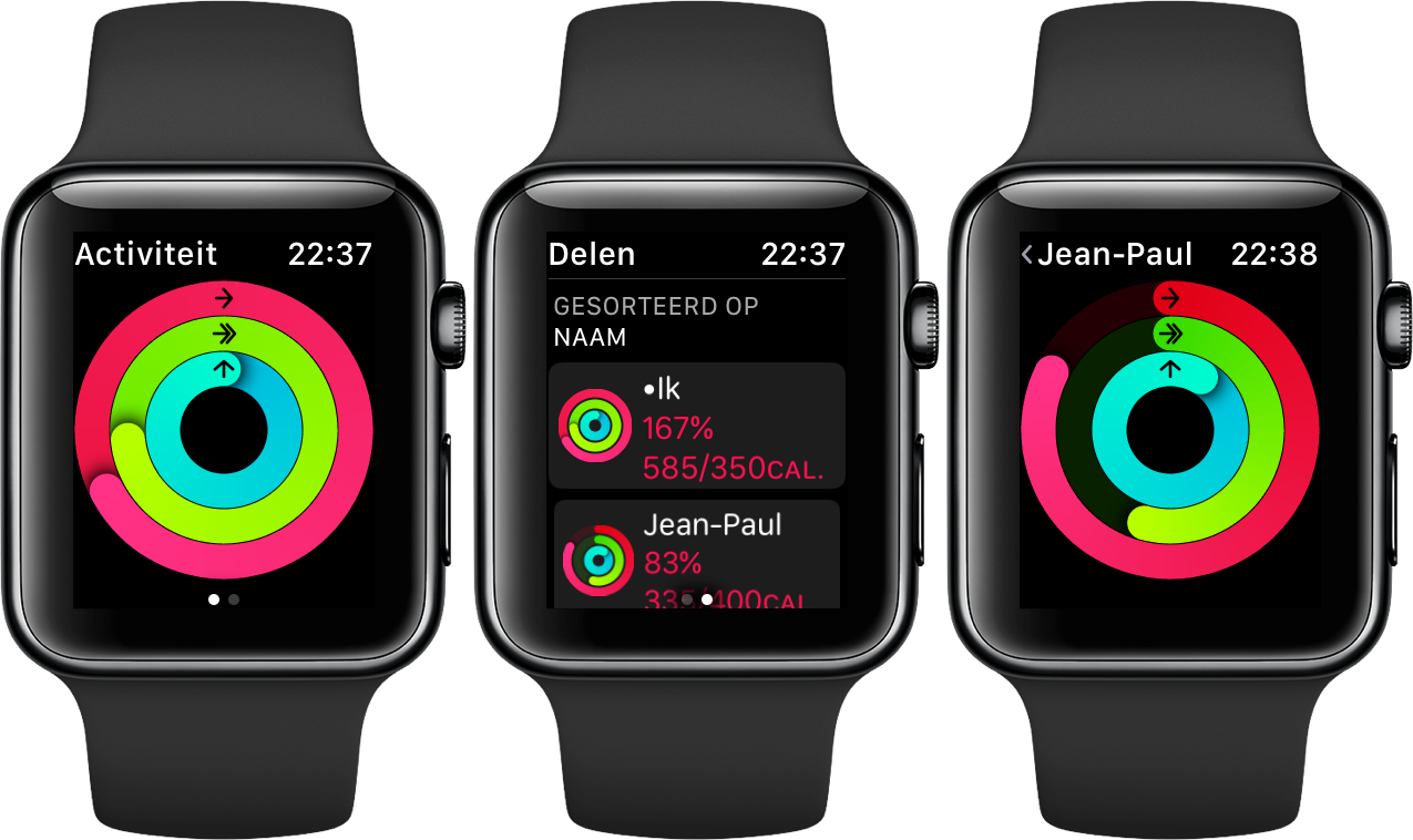 Activiteiten delen op de Apple Watch