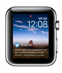 Glimpse op de Apple Watch met iCulture-tweet.
