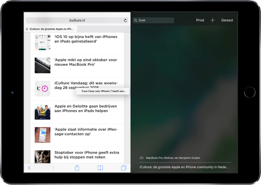 Split View in Safari op de iPad samenvoegen.