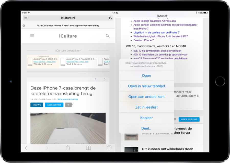 Split View in Safari op de iPad openen.