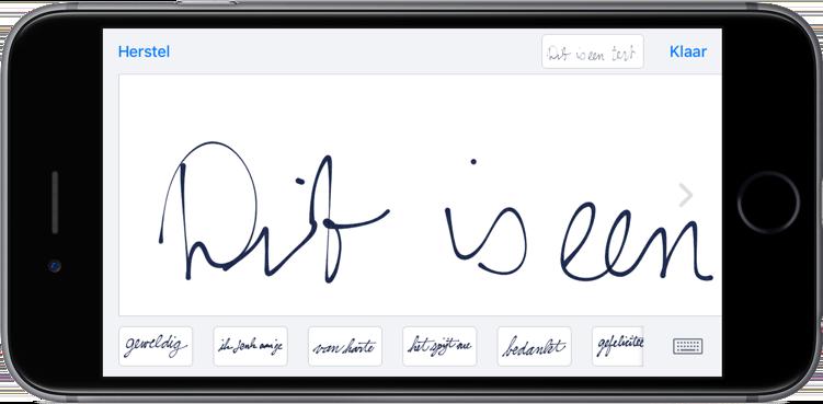 Handgeschreven bericht sturen in iMessage.