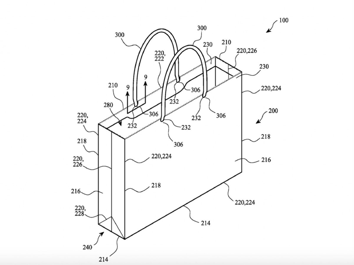 Apple patent papieren tas