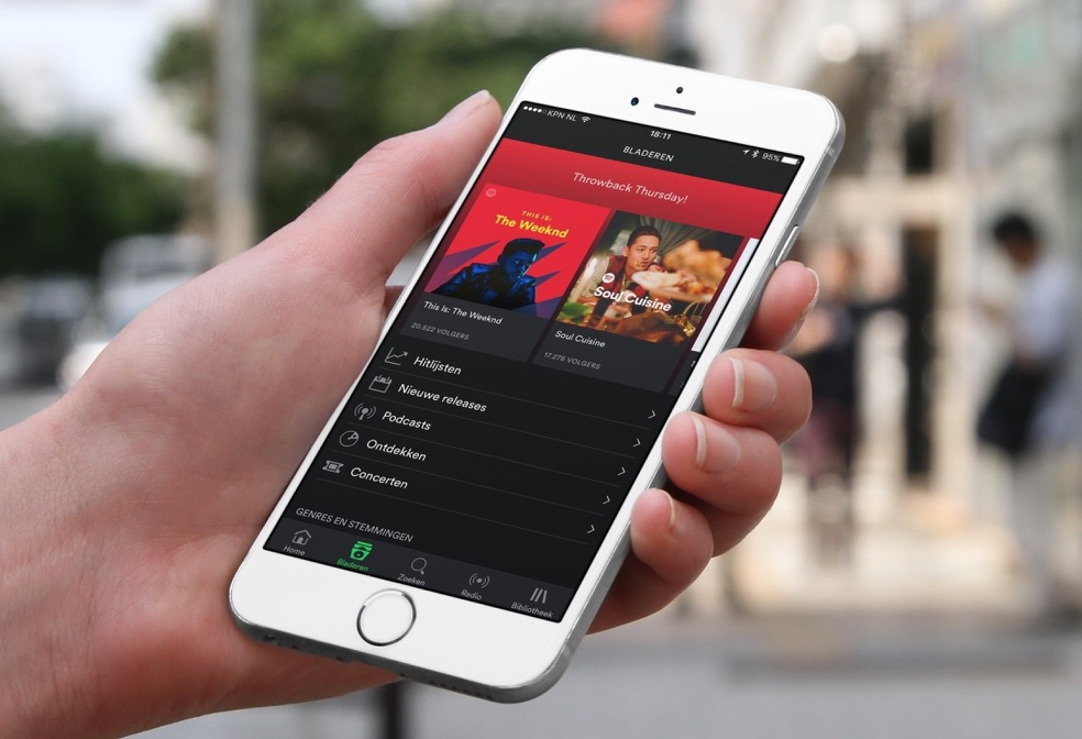 Spotify-app met nieuwe tabbalk.