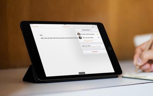 Samenwerken in iWork op de iPad.