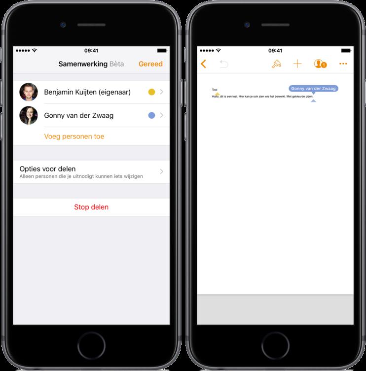 Samenwerking bekijken in iWork op iOS.