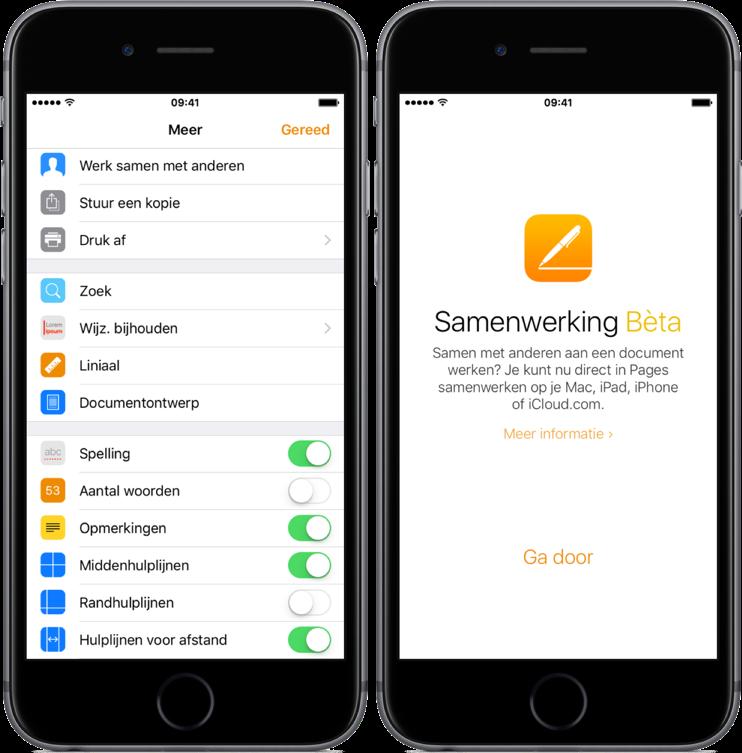 Samenwerking in iWork starten op iOS.
