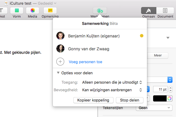 Samenwerking beëindigen in iWork op de Mac.