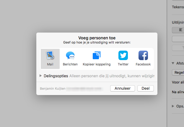 Samenwerken uitnodigen in iWork op de Mac.