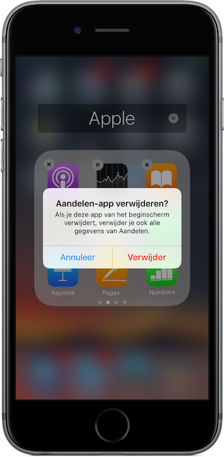 Standaardapp verwijderen van iPhone