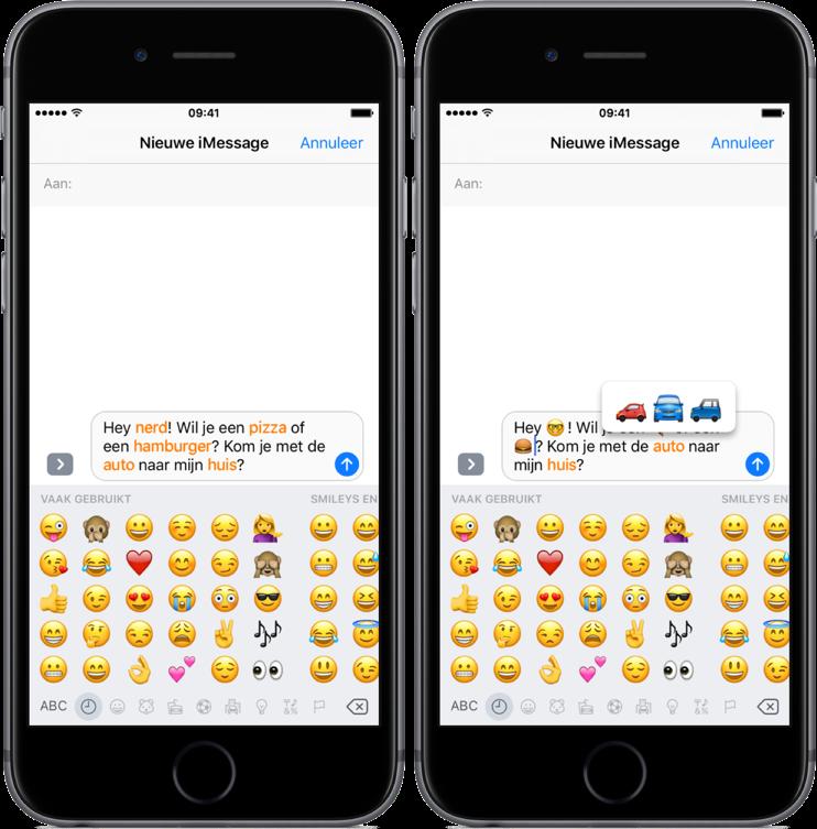 Woorden omzetten in emoji in iOS 10.
