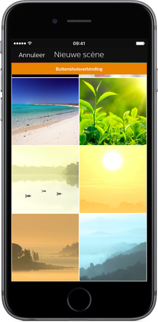 Philips Hue-app met afbeeldingen voor scenes.