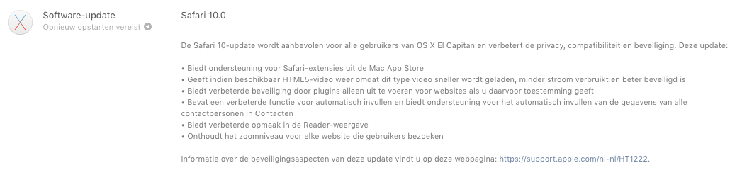 Safari 10 in Mac App Store.