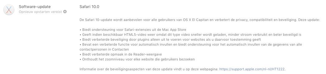 Safari 10 in Mac App Store.