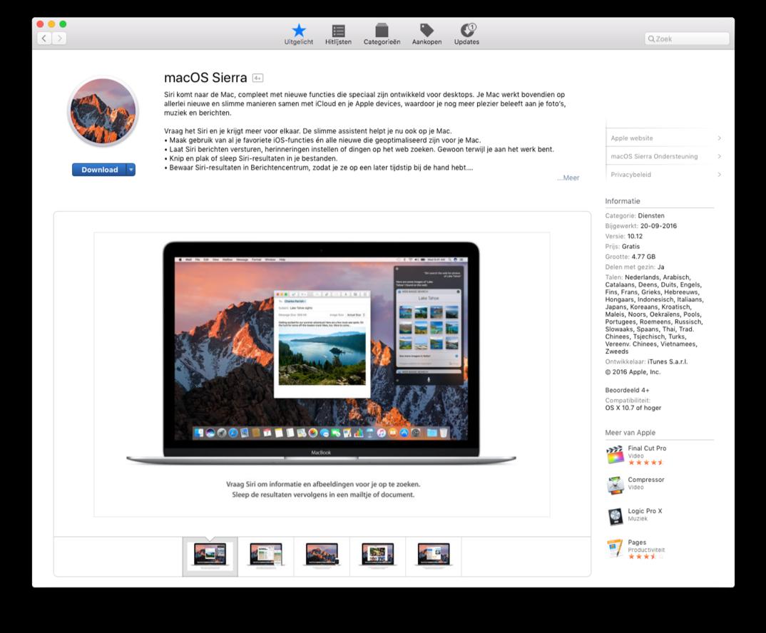 macOS Sierra in de Mac App Store.