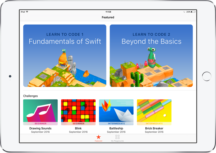 Swift Playgrounds startscherm