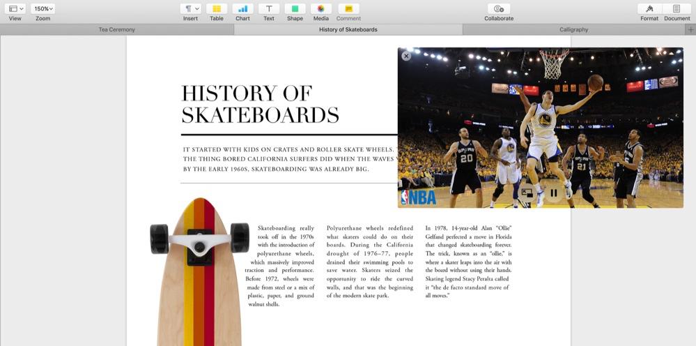 Tabbladen en beeld in beeld (picture-in-picture) in macOS Sierra.