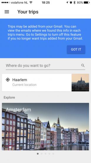 Google Trips bekijkt je email.