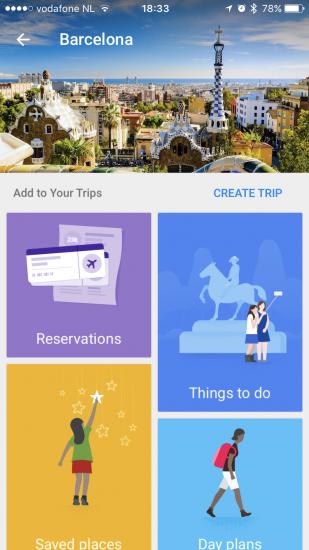 Google Trips met Barcelona.