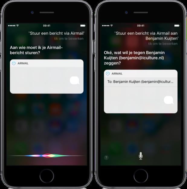 Airmail met Siri op de iPhone.