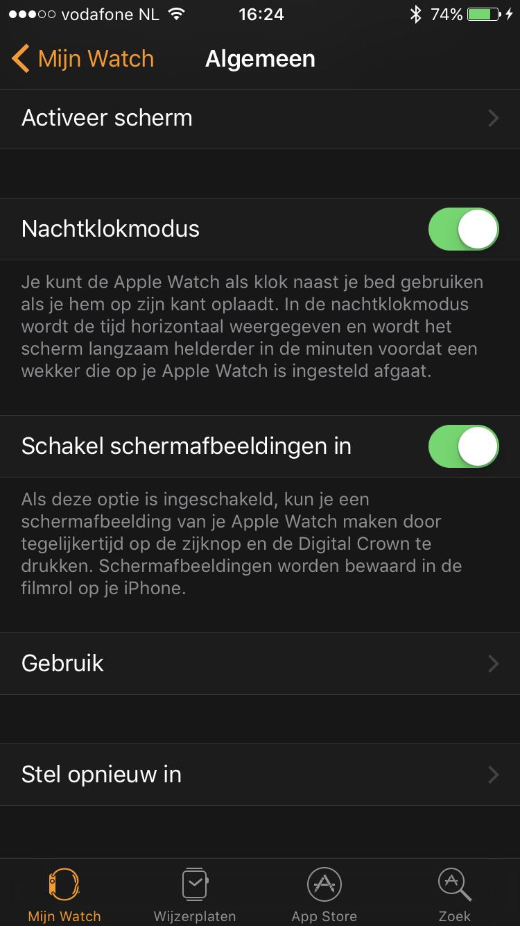 Screenshots maken op de Apple Watch