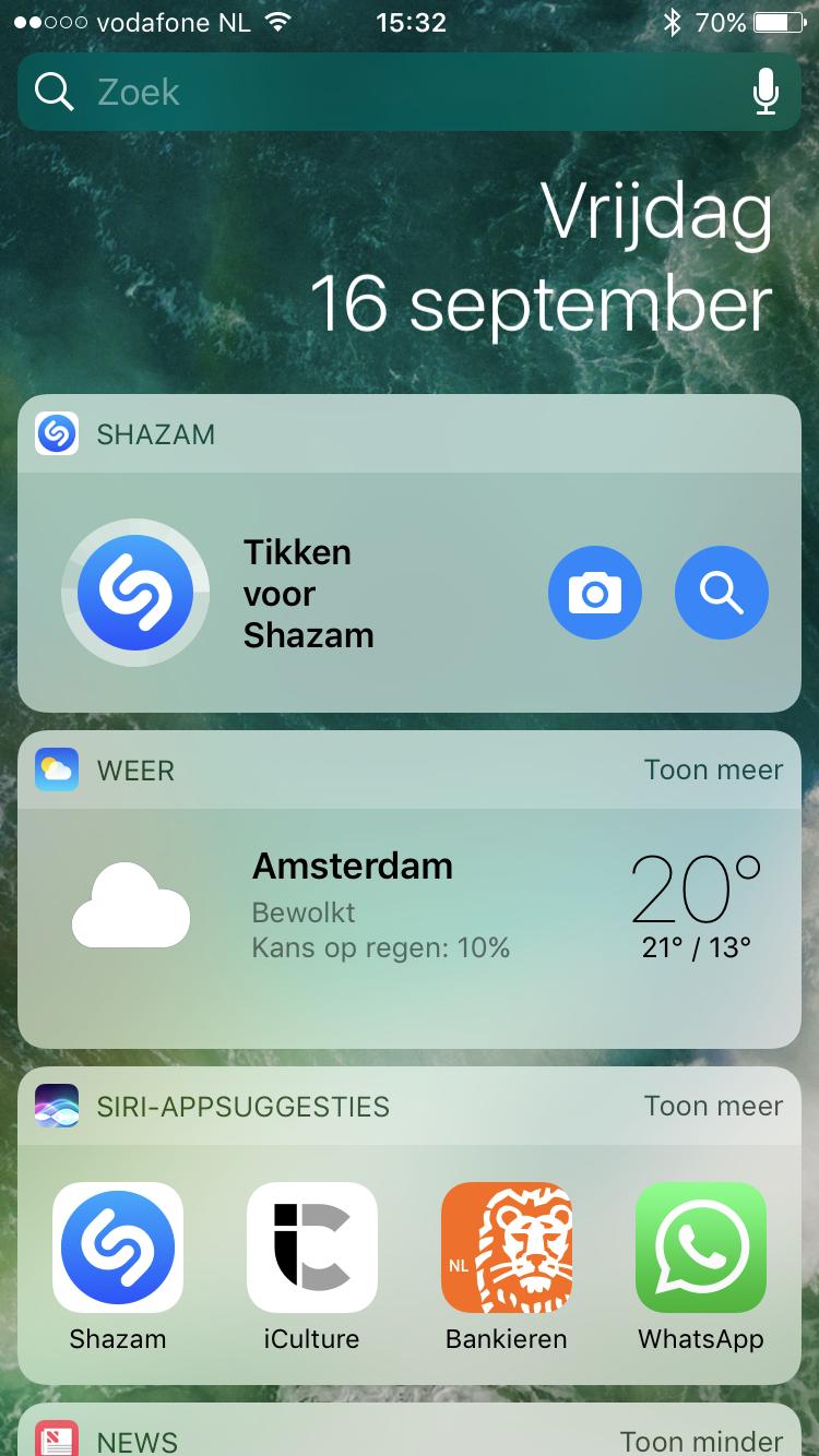 Shazam-widget voor iOS 10.