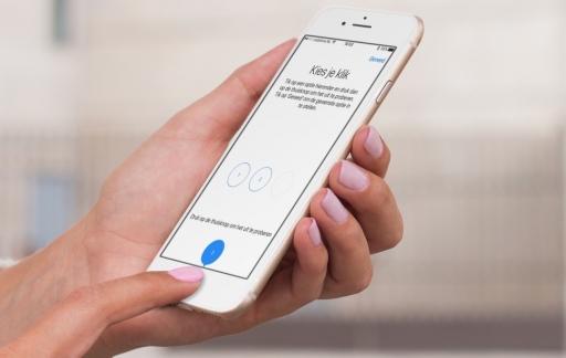 iPhone met instelling voor nieuwe homeknop.