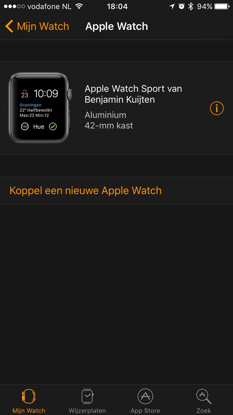 Koppel Apple Watch los.