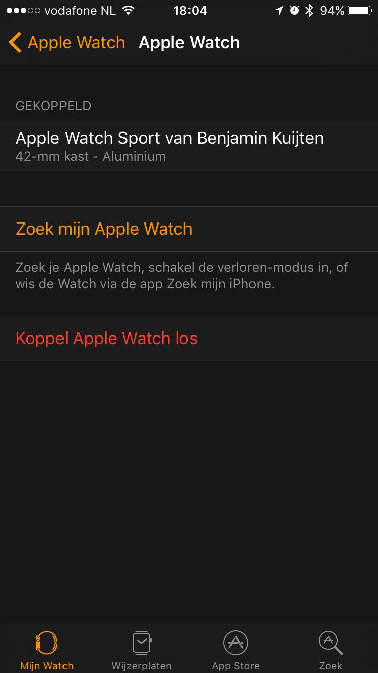 Apple Watch loskopelen.