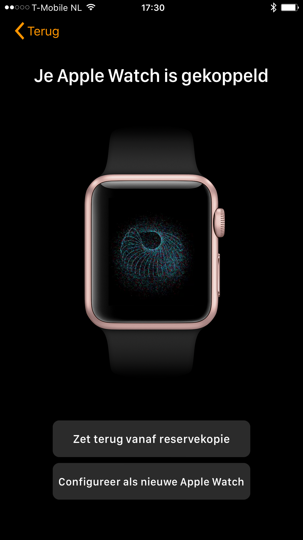 Apple Watch koppelen met reservekopie.