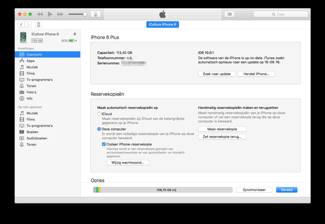 iTunes met gekoppelde iPhone.
