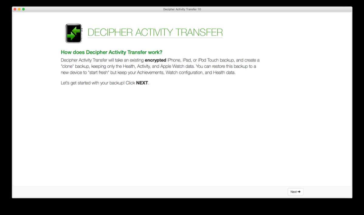Decipher Activity Transfer start.