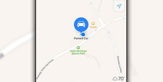 Geparkeerde auto in iOS 10