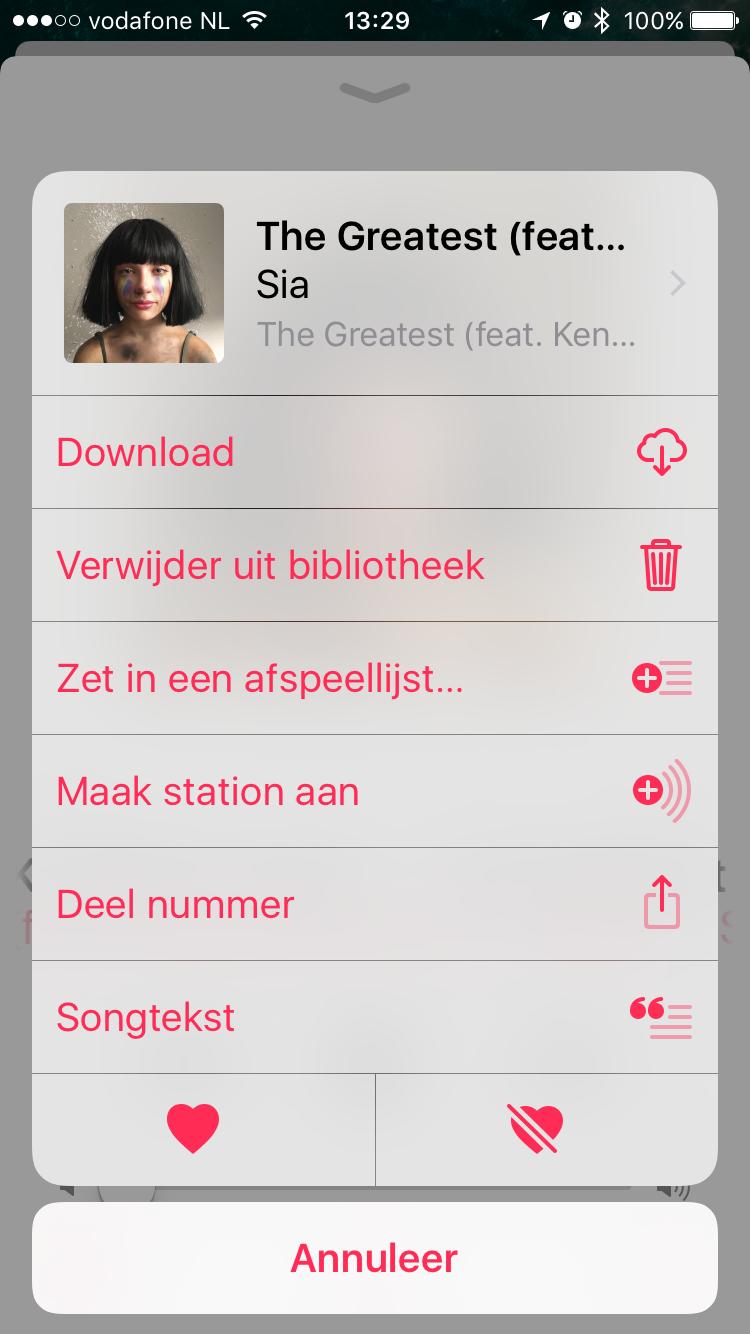 Opties met Songtekst op iPhone met Apple Music.