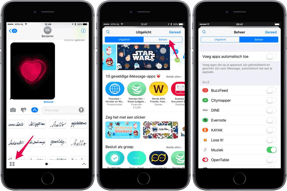 iMessage apps automatisch